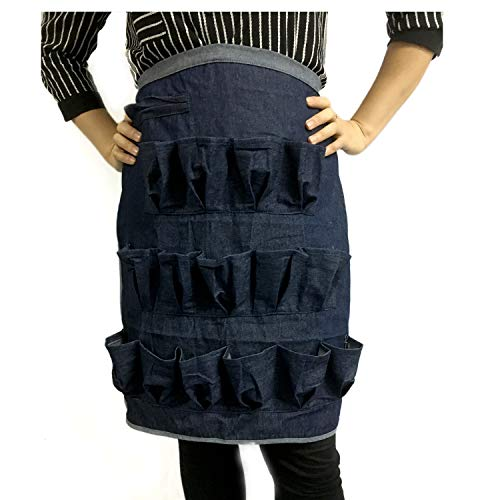 Yesito Egg Gathering Apron 3 Layer 15 Pockets Soft Durable Denim Fabric for Collecting Chicken and Quail Eggs