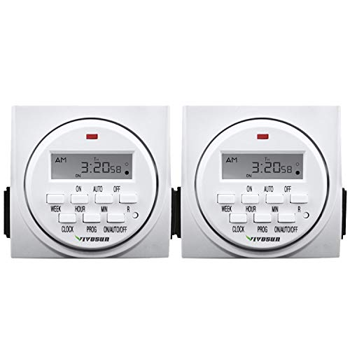 VIVOSUN 2-PACK 7 Day Programmable Digital Timer Switch with 2 Outlets - Accurate & Stable, UL Listed