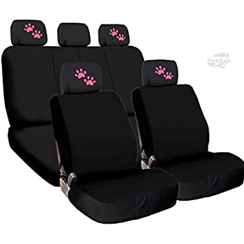 Amazon.com: 6 Piece set. Black and Purple Paw Print seat covers ...