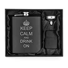 Matte Black 7oz Stainless Steel Flask Funnel & Lighter Set Keep Calm and Drink On