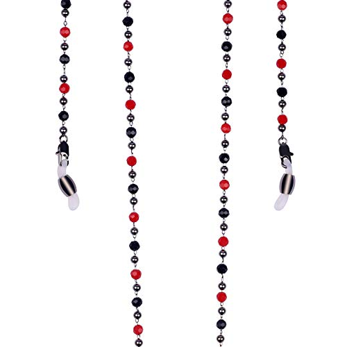 Bohemian Glass Chain Holder necklace for Sunglasses Lanyards with Swarovski Crystal (Gun Metal with red & black crystal)