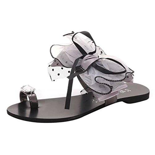 Womens Sandals ,Clode® Ladies Gilrs Summer Bohemia Bowknot Clip Toe Flat Slippers Flip Flops Sandals Shoes Grey