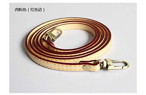 47 inch PU Leather Strap For Bag strap / Replacement Shoulder Bag Straps / straps for bags For DIY (Beige with red edge) - Edge Leather Shoulder Bag