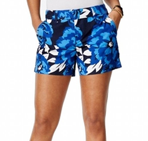 Tommy Hilfiger Women's Floral Print Front-Tab Shorts Blue 12