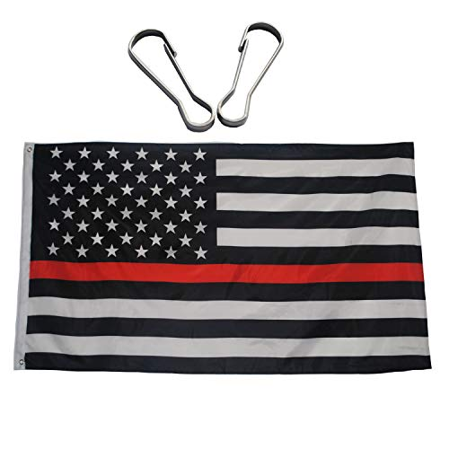 Hook Bright Brass - Thin Red Line USA Polyester Flags 3x5 Ft, Honoring Firefighter and Law Enforcement Officers Flag with Brass Grommets - Bright Color and UV Protection - Two Free Metal Flag Pole Clip Hooks Included