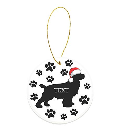 Christmas Dog Gifts Custom Text or Date Cocker Spaniel Gifts Personalized Round Ceramic Ornament Dog ()