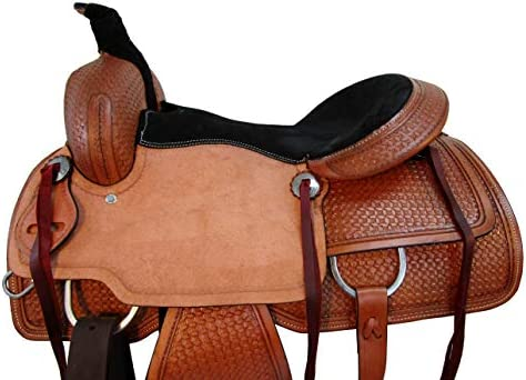 413DCi9OC7L. AC  - Comfy Trail Saddle Pleasure Horse TACK Hand Tooled Leather Roping Roper 15 16 17