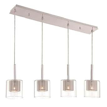 decor therapy steel glass rectangular pendant light chrome