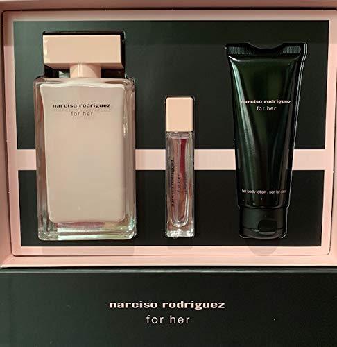 Narciso Rodriguez 3pcs Set Women Eau de Parfum Spray 3.3Fl Oz+Purse Spray 0.33 Fl Oz+Body Lotion 2.5 Fl Oz ()