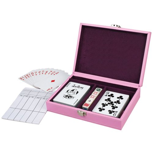 Charlo Pink Leatherette Two Deck Poker Game Playing Card Holder with 5 Dice – 7 Inch