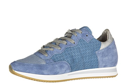 Philippe Model chaussures baskets sneakers femme en daim tropez perforé blu
