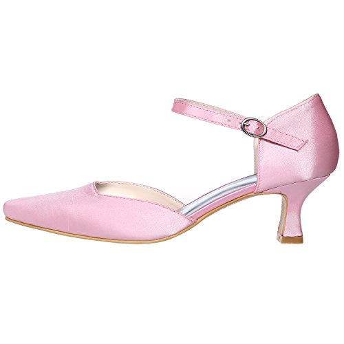 LOSLANDIFEN Womens Pionted Toe Kitten Heels Satin Ankle Strap Pumps Platform Wedding Shoes Pink F8e21T