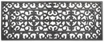 American Chateau 46 X 18 Black Rubber French Fleur De LYS Decor Double Door Front Mat Doormat