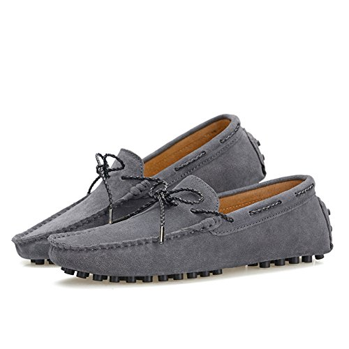 Shenn Men's Driving Car Casual Lace Up Suede Loafer Flats 9388 Grey elkDt