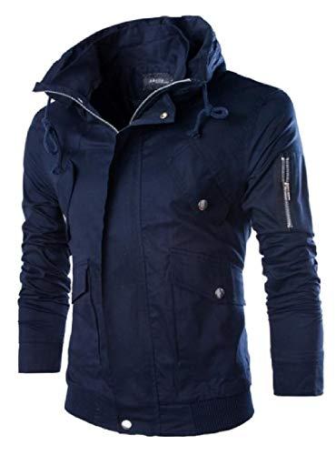 Multi Pocket Windproof Navy AngelSpace Slim Jacket Blue Men's Premium Zip Outwear Fit 0wqYaZ
