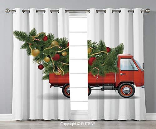 Grommet Blackout Window Curtains Drapes [ Christmas,Red Retro Farm Truck and Big Christmas Tree with Decor Tinsel Balls Candy,White Red Green ] for Living Room Bedroom Dorm Room Classroom Kitchen Cafe]()