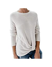 OCEAN-STORE Women's Sweater Long Sleeve Pullover Casual Fashion Pure Color Knot Shirt Top