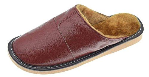 d1d0de23acd7c Men's Women's House Slippers Leather Waterproof Indoor Outdoor Bedroom  House Shoes Plush Lining