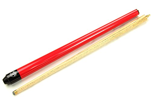 Jonny 8Ball Snooker-Queue / Billard-Queue, 91,4cm, Rot, für Jugendliche und Kinder, Eschenholz, 2 Stück, inklusive weicher Tasche