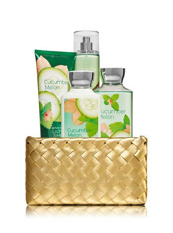 Bath and Body Works CUCUMBER MELON Gold Woven Basket Gift Kit