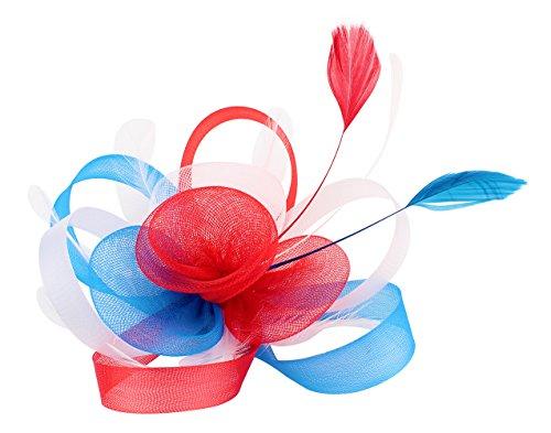 Felizhouse American Patriotic Fascinator Hats Women, US Flag Color Flower Feather Headband Hair Clip, Kentucky Derby Tea Party Church Wedding Headwear (Floral #1)