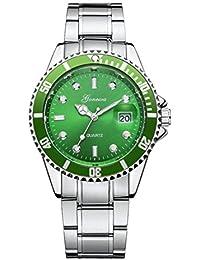 Mens Fashion Stainless Steel Band Date Military Sport Quartz Analog Wrist Watch (Green)