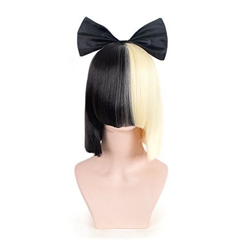 SiYi Half Blonde Black 2 Tone Short Straight Bob Wig Synthetic Full Wigs with Small Bow Should Length Cosplay Wigs for Women (Funny Mens Homemade Halloween Costumes)