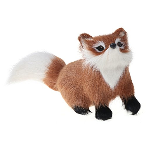 CUTEQ Plush Toys Furs Fox Model Simulation Brown Fox Toy Home Decoration Gift For Kids And Adult