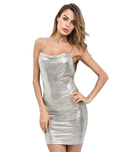 SheIn Women's Sexy Open Back Glitter Chain Criss Cross Cami Mini Bodycon Dress Silver