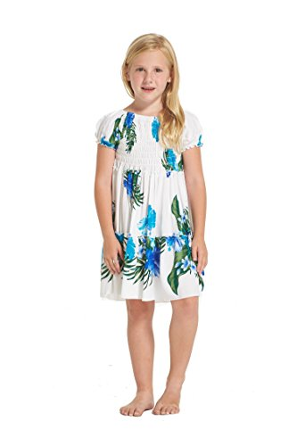 Girl Hawaiian Matching Dress and Pants Set in White with Blue Floral Floral Size 10 - Aloha White Dress