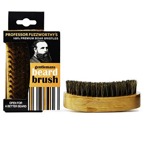 Professor Fuzzworthys Beard Brush 100% Boar Bristle | Mens Best Easy Beard Grooming Tool for a Fluffy Soft Beard - Promotes Beard Growth - Natural Bamboo Wood Handle - Great with Beard Shampoo & Balm