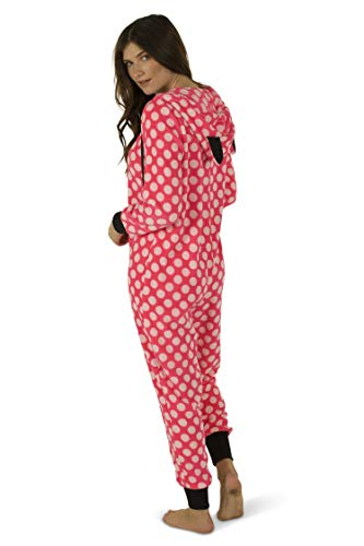 Totally Pink Women's Warm and Cozy Plush Adult Onesies for Women One-Piece Novelty Pajamas (Large, White Polka Dot)]()