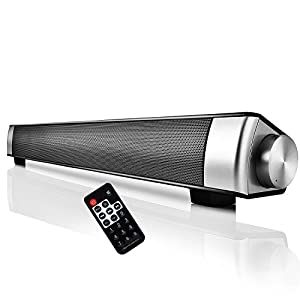 Soundbar Speaker, YOKKAO Wireless Bluetooth Stereo Speaker 2x5W Subwoofers with Remote Control Rechargeable Battery Support TF Card/ 3.5mm Aux-in/ TV