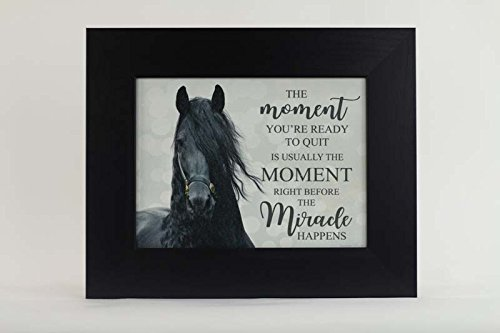 Summer Snow The Moment You're Ready To Quit Miracle Friesian Black Horse Framed Art (Black - Friesian Art Horse