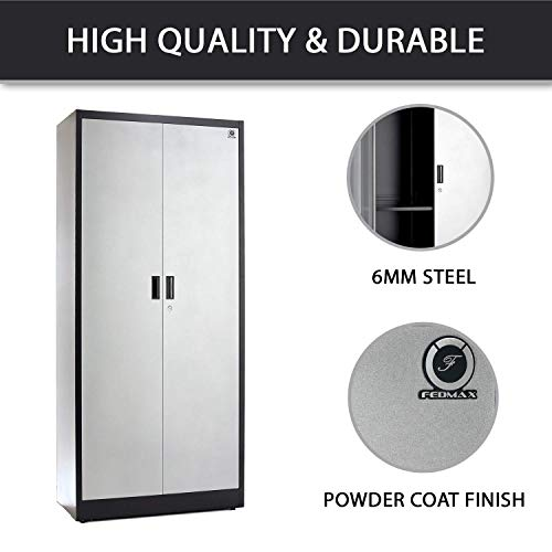 Steel Storage Cabinet 71'' Tall, Lockable Doors and Adjustable Shelves, (Choose Color) 70.86'' Tall x 31.5'' W x 15.75'' D, by Fedmax. (Black) by Fedmax (Image #2)