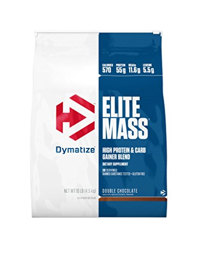 Gainer Double Vanilla Cream - Dymatize Elite Mass Hi-Protein Muscle Gainer, Double Chocolate, 10 lbs