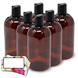 BAIRE BOTTLES - 16 OZ BROWN AMBER PLASTIC REFILLABLE BOTTLES with BLACK HAND-PRESS FLIP DISC CAPS - ORGANIZE Soap, Shampoo, Lotion with a Clean Look - PET, BPA Free - 6 Pack, BONUS 6 FLORAL LABELS