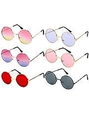 6 paar retro gekleurde hippiebril met ronde frame, grappige bril jaren '70 carnaval hippie partydecoratie bril voor dames en heren