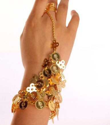 Belly Dance Costume Coin Hand Decoration Slave Bracelet W...