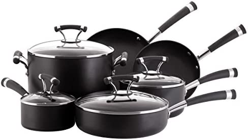 Circulon 82376 Contempo Cookware Set, 10 Piece, Black