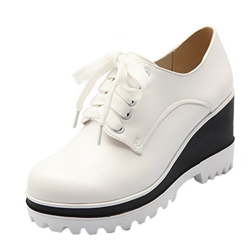 Haut Talon Blanc Couleur Rond Cuir Aalardom Lacet Unie Femme À Légeres Pu Chaussures qwW7acRXIR