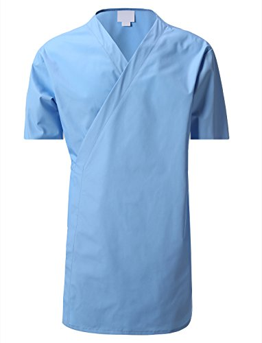 (7 Encounter Unisex Multifunctional Short Sleeves Wrap Smock Light Blue Size S/M)