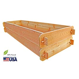 """Timberlane Gardens Raised Bed Kit Double Deep (Two) Western Red Cedar with Mortise and Tenon Joinery, 24"""" W x 72"""" L 101 Raised Garden Bed Kit Proudly Made in Homer Glen, Illinois USA. Constructed of Select Western Red Cedar. Aromatic and Naturally Insect & Rot Resistant. Handcrafted Mortise & Tenon Joinery. The Strongest Corner Joints Available."""