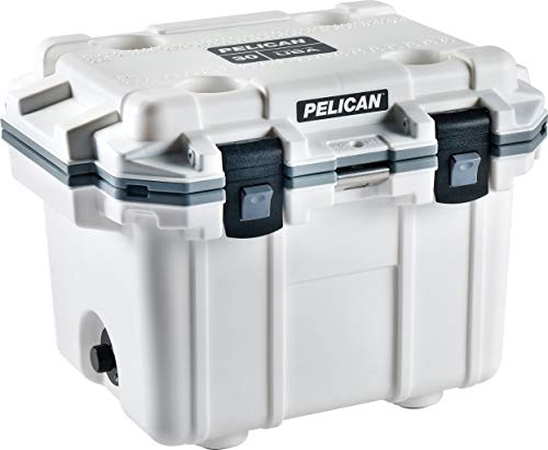 Pelican Elite 30 Quart Cooler (White/Gray) (Renewed)