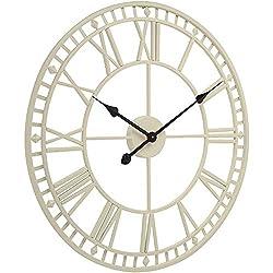 FCZH Outdoor Garden Wall Clocks Large Weatherproof with Roman Numerals (Cream), Skeleton Frameless Iron 3D Hanging Clock,32inch