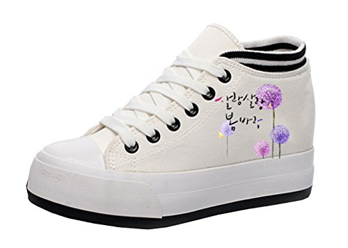 VECJUNIA Ladies Classic Canvas Lace-Up Platform Shoes Height-increasing Fitness Work Out Sneaker White