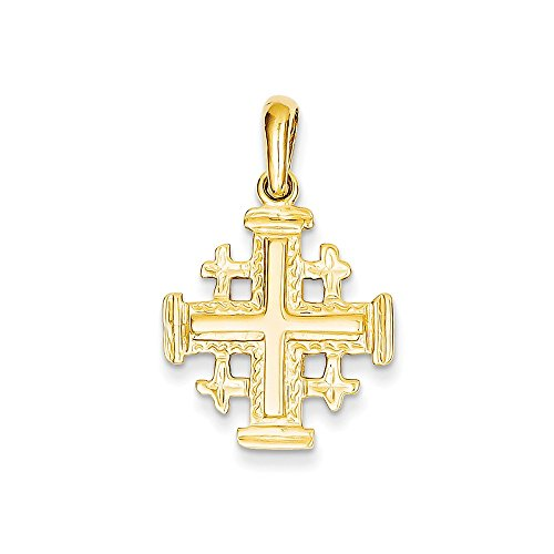 Jerusalem Gold Cross Pendant Jewelry - 14k Gold Jerusalem Cross Pendant (1.18 in x 0.94 in)