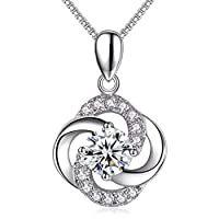 Alberoo Necklace,925 Sterling Silver with 5A Cubic Zirconia Pendant Necklace Jewelry, Gift for Women