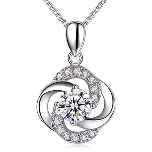 Necklace,925 Sterling Silver with 5A Cubic Zirconia Pendant Necklace, Alberoo Jewelry, Gift for Women