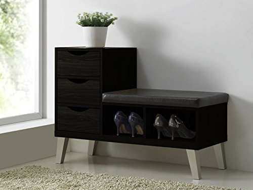 Baxton Studio Arielle Modern Contemporary Wood 3 Drawer Shoe Storage Padded Leatherette Seating Bench with Two Open Shelves, Dark Brown